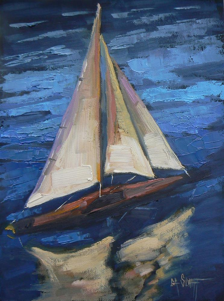 """Daily Painting, Oil, """"Toy Sailboat"""" 6x8"""" original fine art by Carol Schiff"""