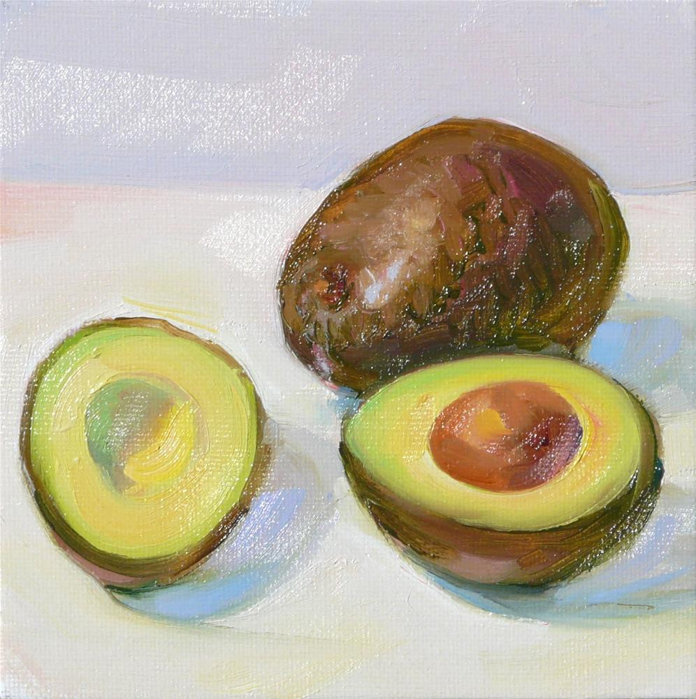 """Two Avacadoes,still life,oil on canvas,6x6,priceNFS"" original fine art by Joy Olney"