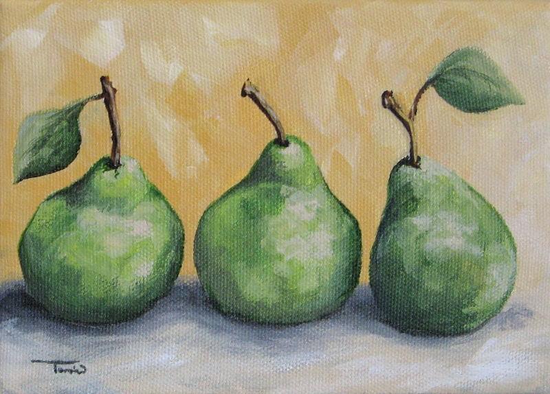 """Fresh Green Pears"" original fine art by Torrie Smiley"