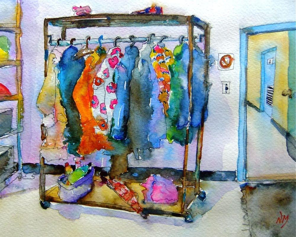 """studio coatrack"" original fine art by Nora MacPhail"