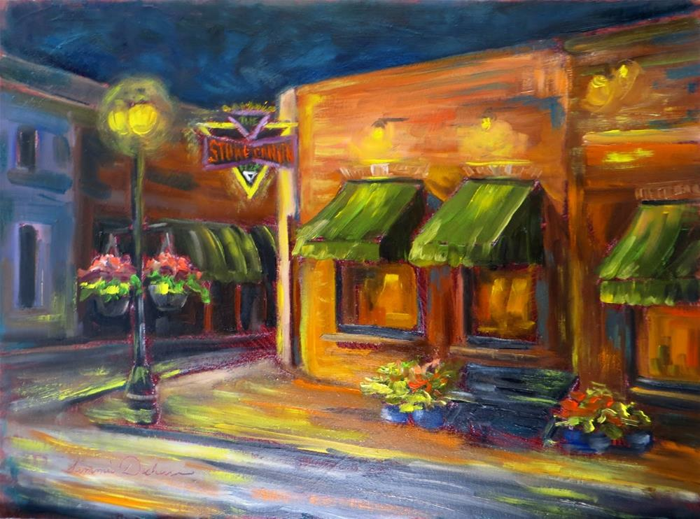 """Evening at Stone Canyon Pizza"" original fine art by Tammie Dickerson"