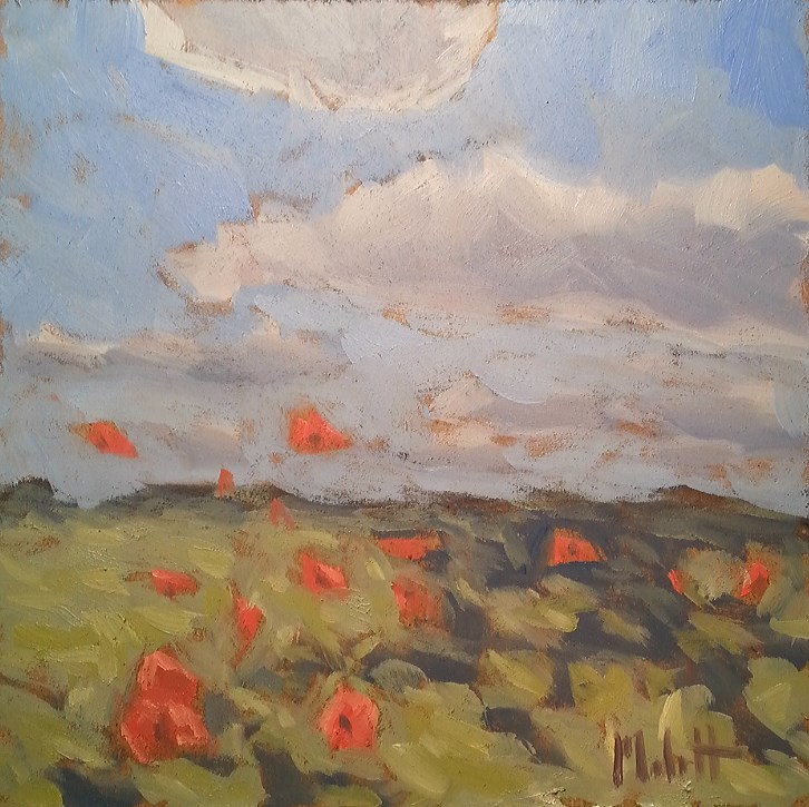 """Orange Poppy Field Original Oil Painting Impressionism Landscapes"" original fine art by Heidi Malott"