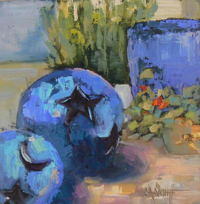"""Moon and Stars"" original fine art by Carol Schiff"