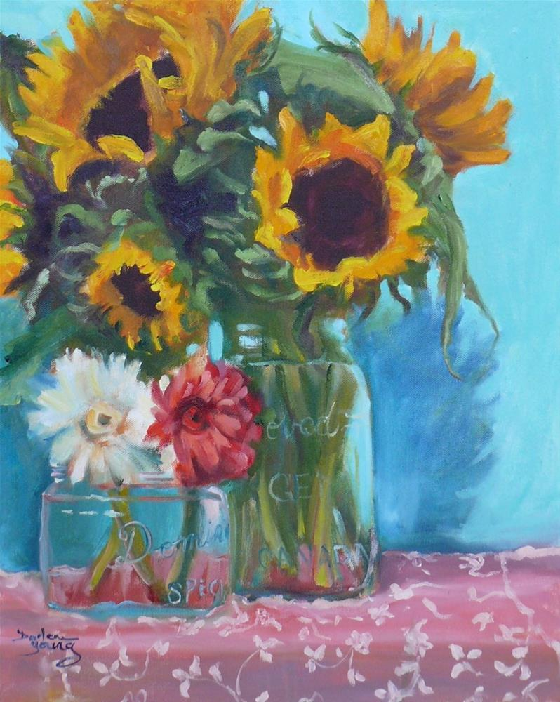 """Sunflowers and Gerbera Daisies"" original fine art by Darlene Young"