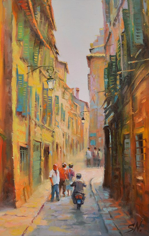 """Locals -  Narrow street in Nice, French street scene"" original fine art by Nick Sarazan"