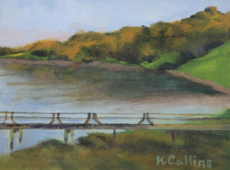 """Dusk on the Pier"" original fine art by Kathy Collins"