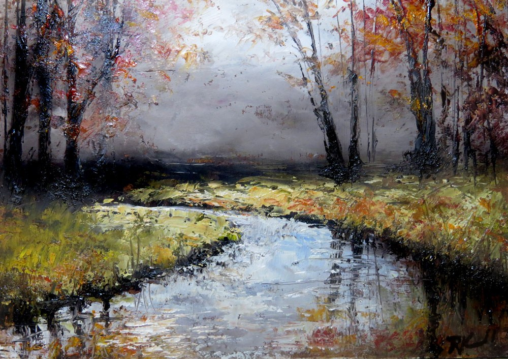 """Autumn Stream"" original fine art by Bob Kimball"