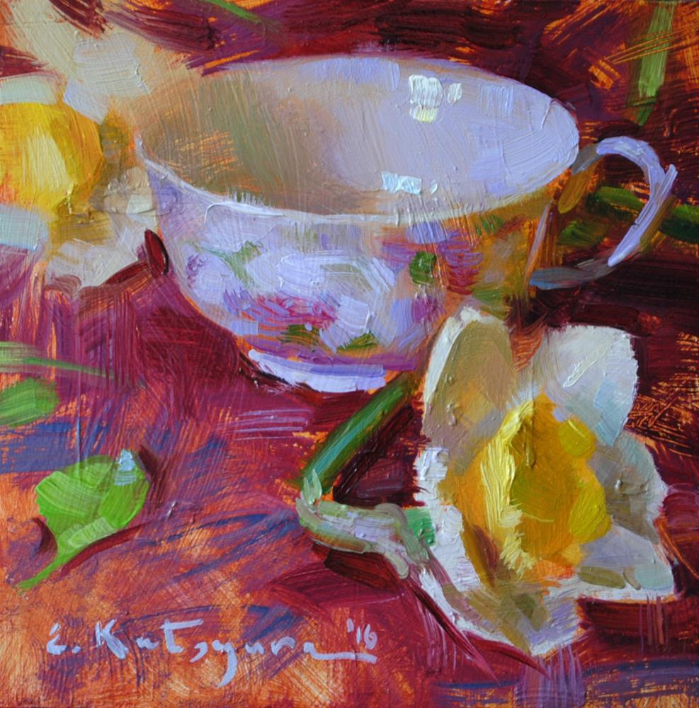 """Cup and Daffodils"" original fine art by Elena Katsyura"