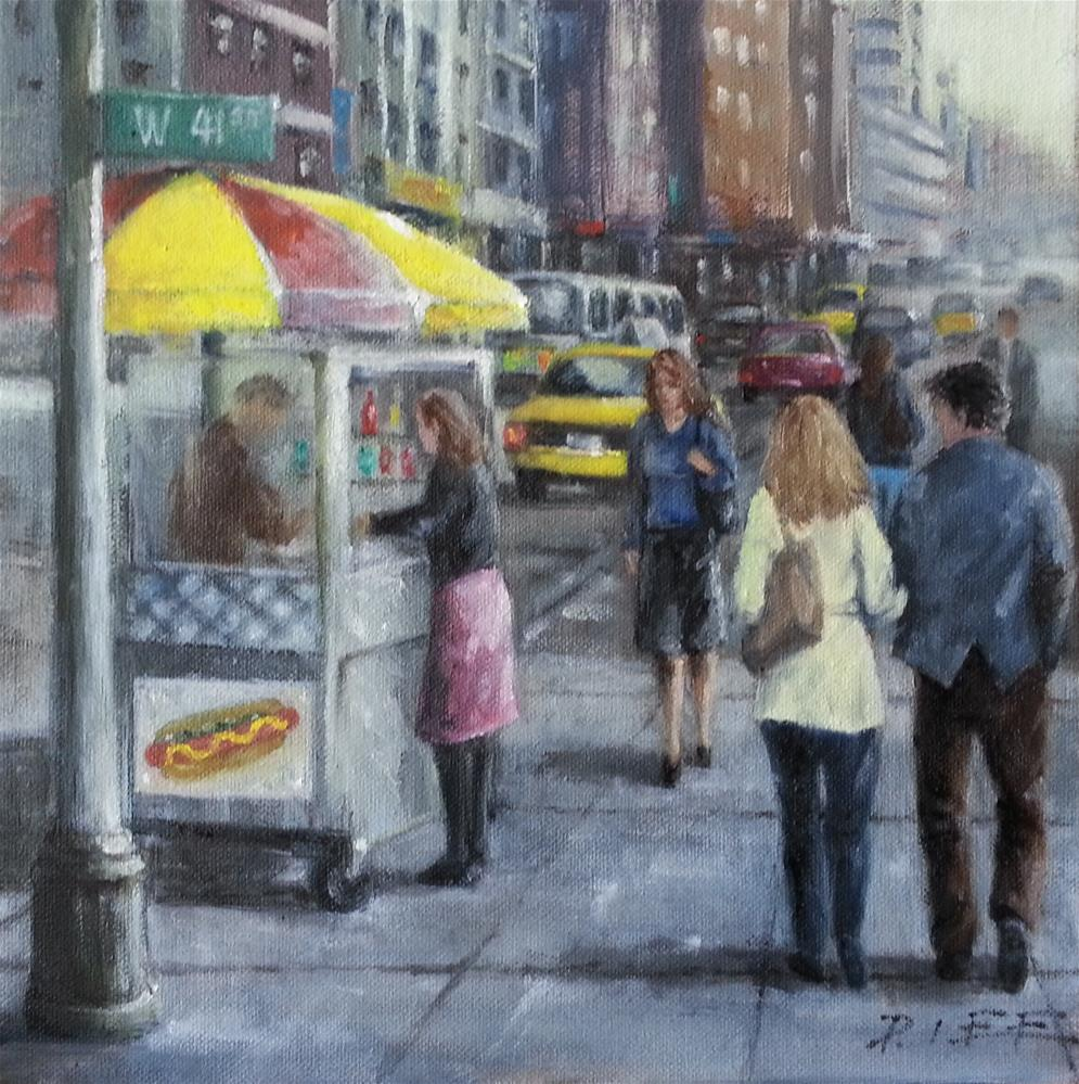 """hotdog stand"" original fine art by Peter Lee"