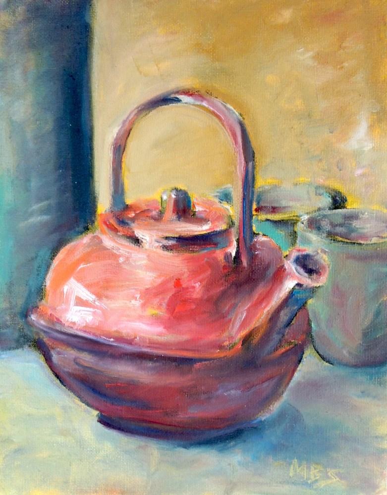 """Red Teapot"" original fine art by Mary Schiros"