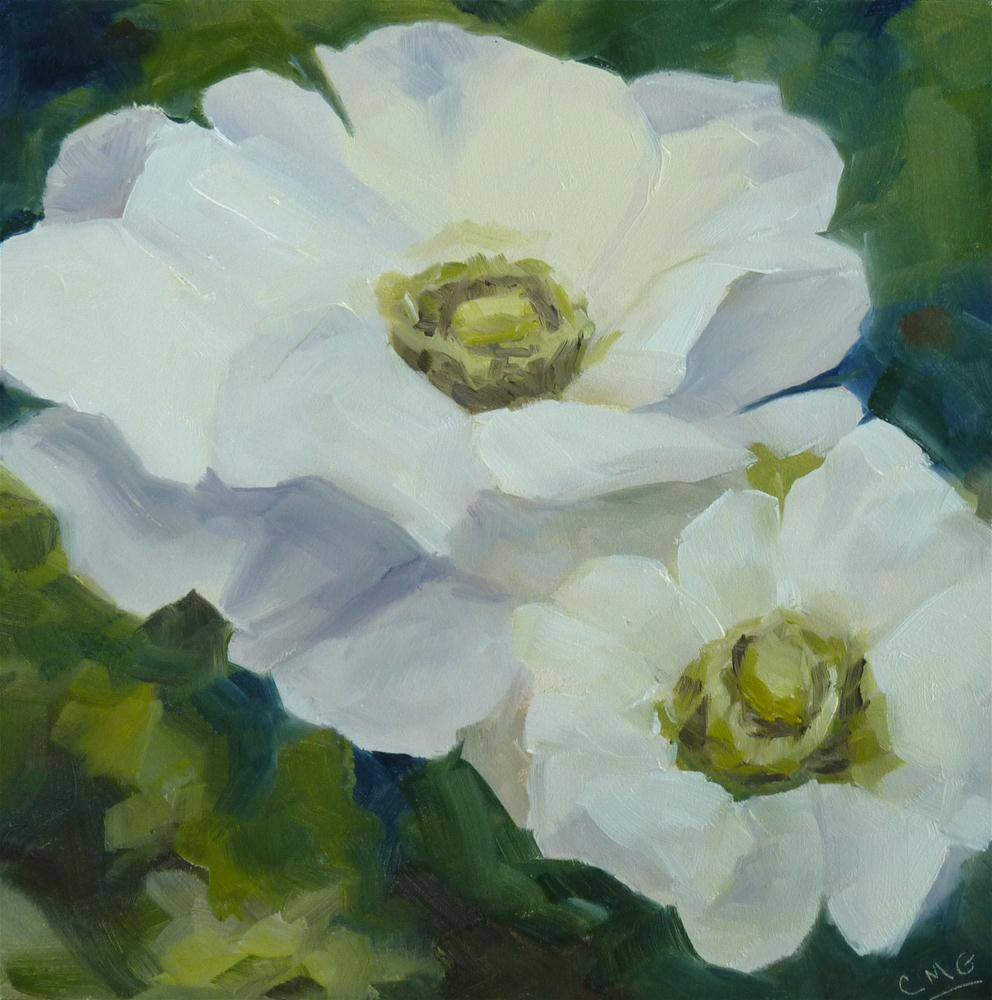"""White Anemones"" original fine art by Cindy Greene"