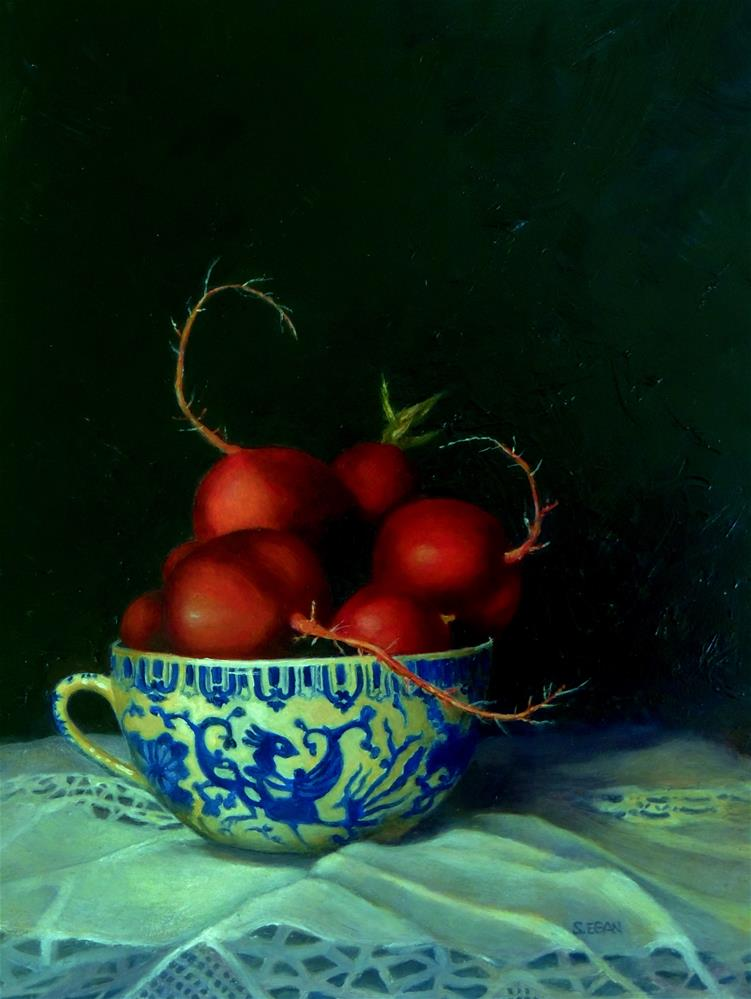"""Cup of Radishes"" original fine art by Sharon Egan"