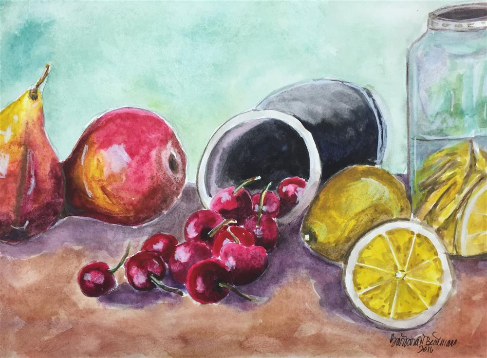 """Cherries always go first"" original fine art by Barbara Beckmann"