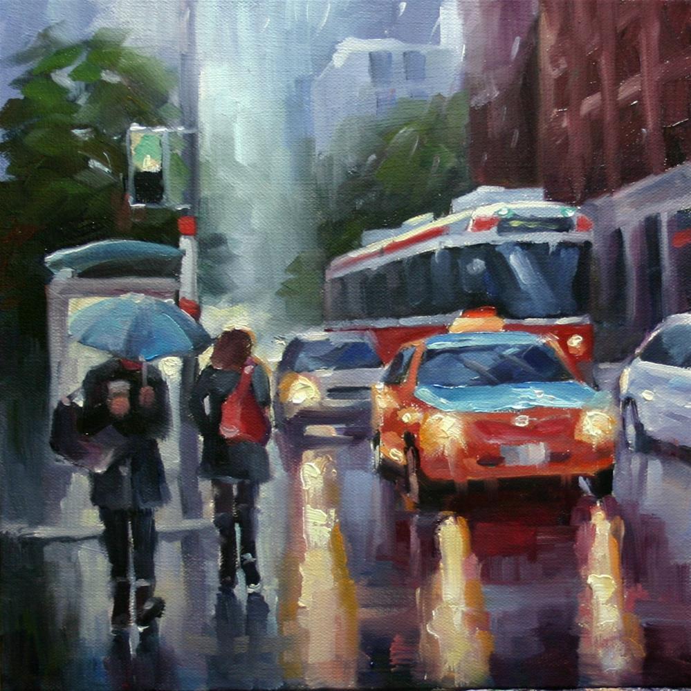 """Autumn Rain, King Street"" original fine art by Catherine Jeffrey"