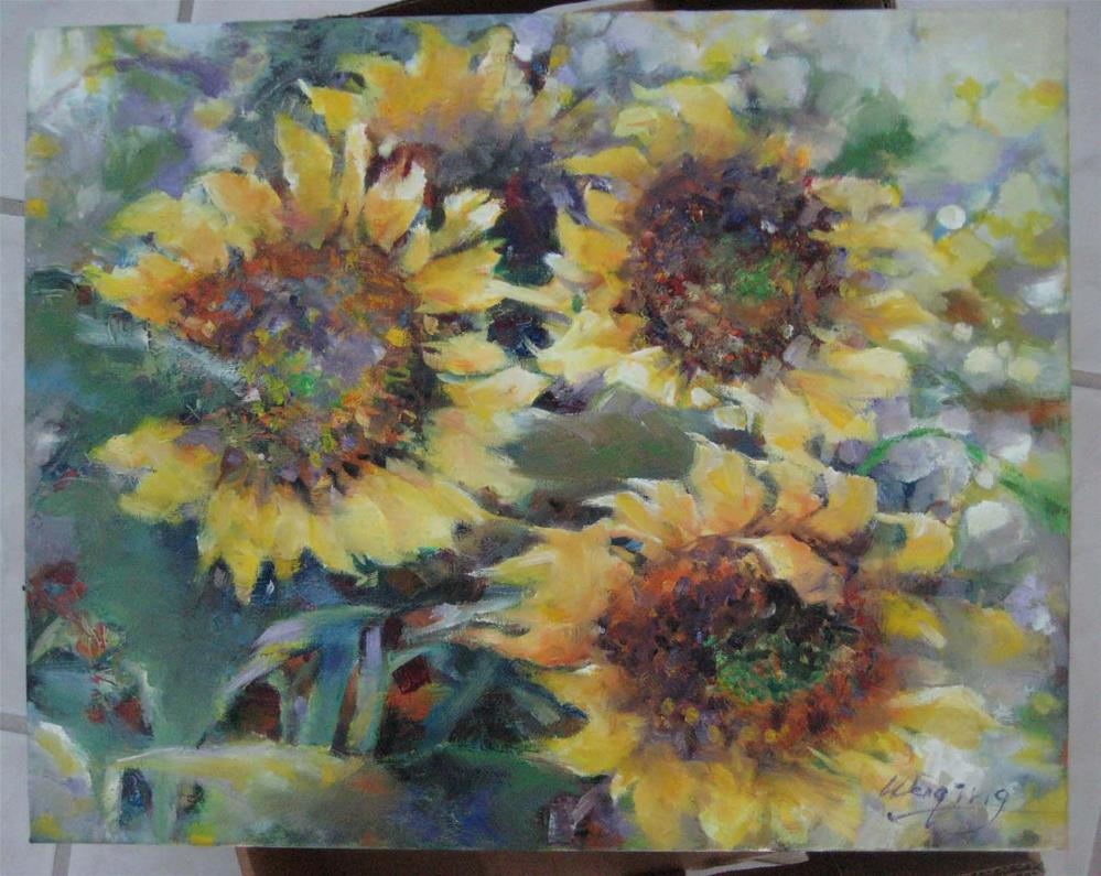 """SUNFLOWERS BLOOMING"" original fine art by Wenqing Xu"