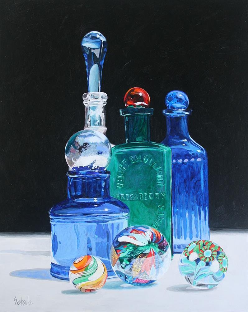 """Antique bottles and marbles"" original fine art by Setsuko Lawson"