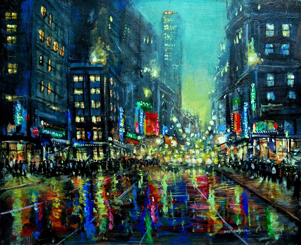 """New York in night20"" original fine art by vishalandra dakur"