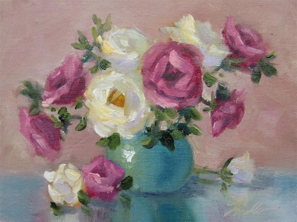 """Roses & Teal 2"" original fine art by Pat Fiorello"
