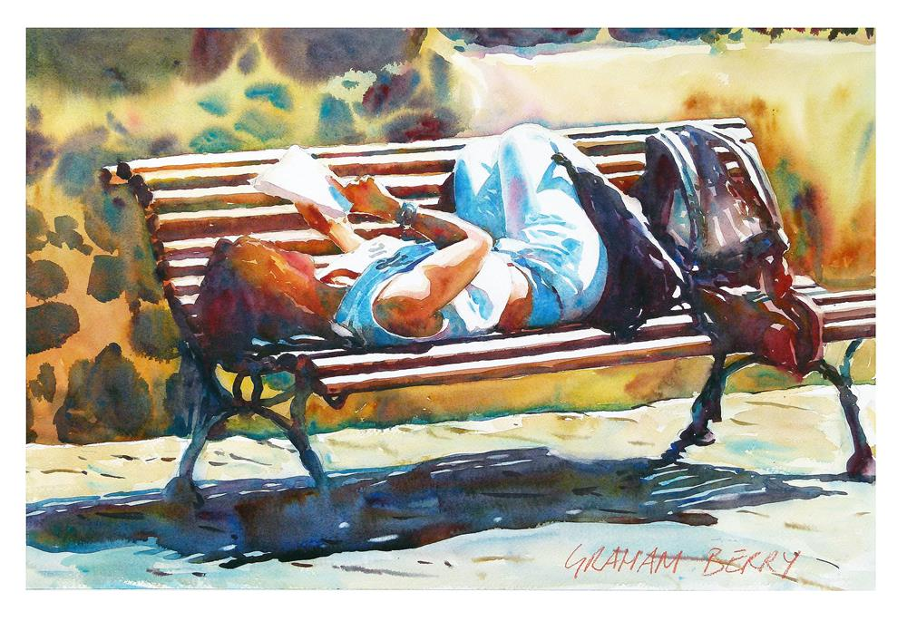 """Girl on bench"" original fine art by Graham Berry"