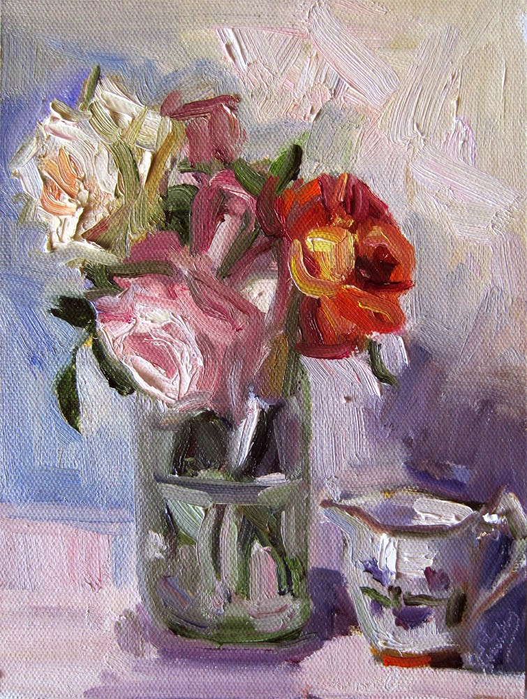 """Roses and Old Fashioned Creamer"" original fine art by Carol Steinberg"