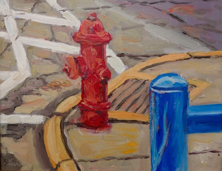 """Red White and Blue, en Plein air Quick Paint"" original fine art by Daniel Fishback"