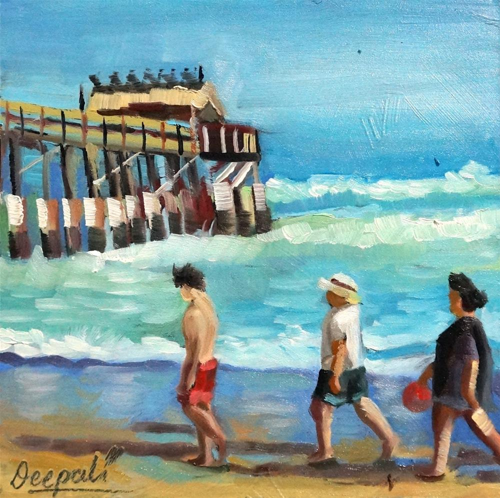 """Walking on the beach"" original fine art by Dipali Rabadiya"