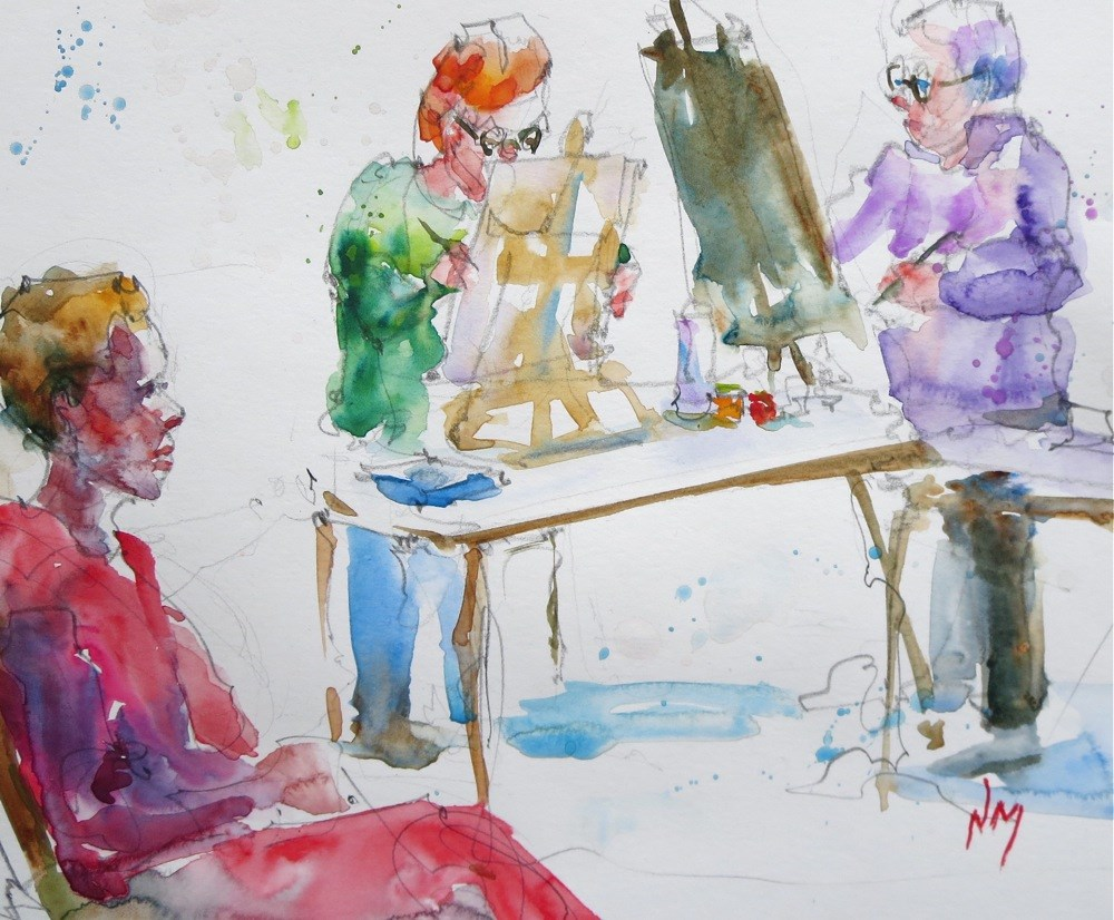 """workin' hard and havin' fun"" original fine art by Nora MacPhail"