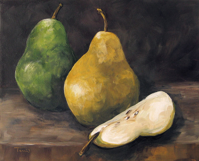 """Pears Green and Gold"" original fine art by Torrie Smiley"