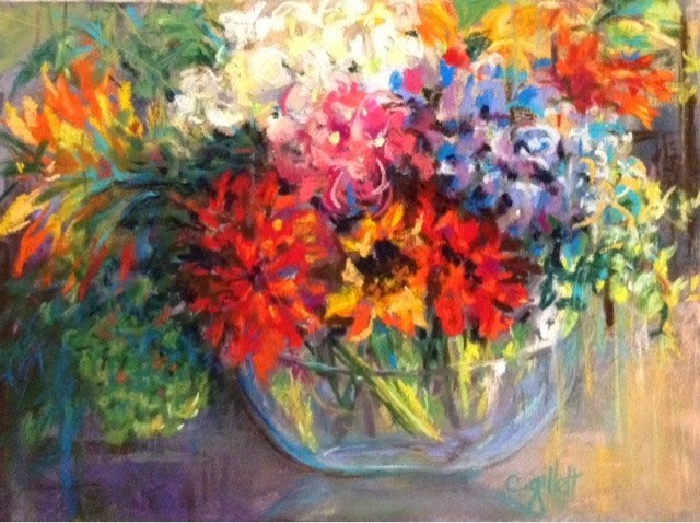 """Floral Fireworks"" original fine art by Cindy Gillett"
