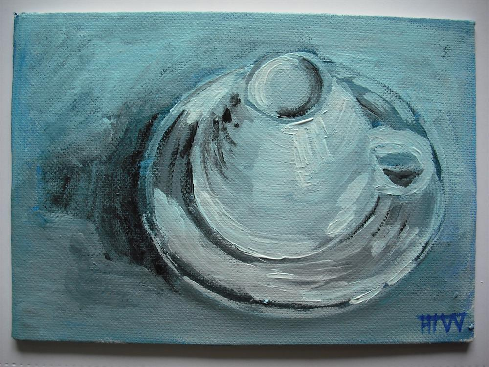 """Secretive Cup and Saucer (2)"" original fine art by Heather Whiting"