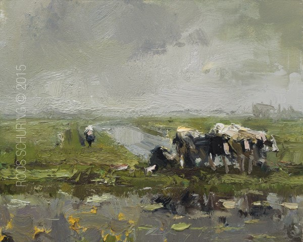 """Cows in Rain – Koeien"" original fine art by Roos Schuring"