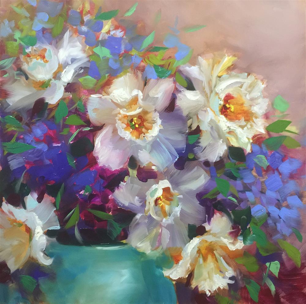 """A New Year's Surprise - Daffodils Bloom Again"" original fine art by Nancy Medina"