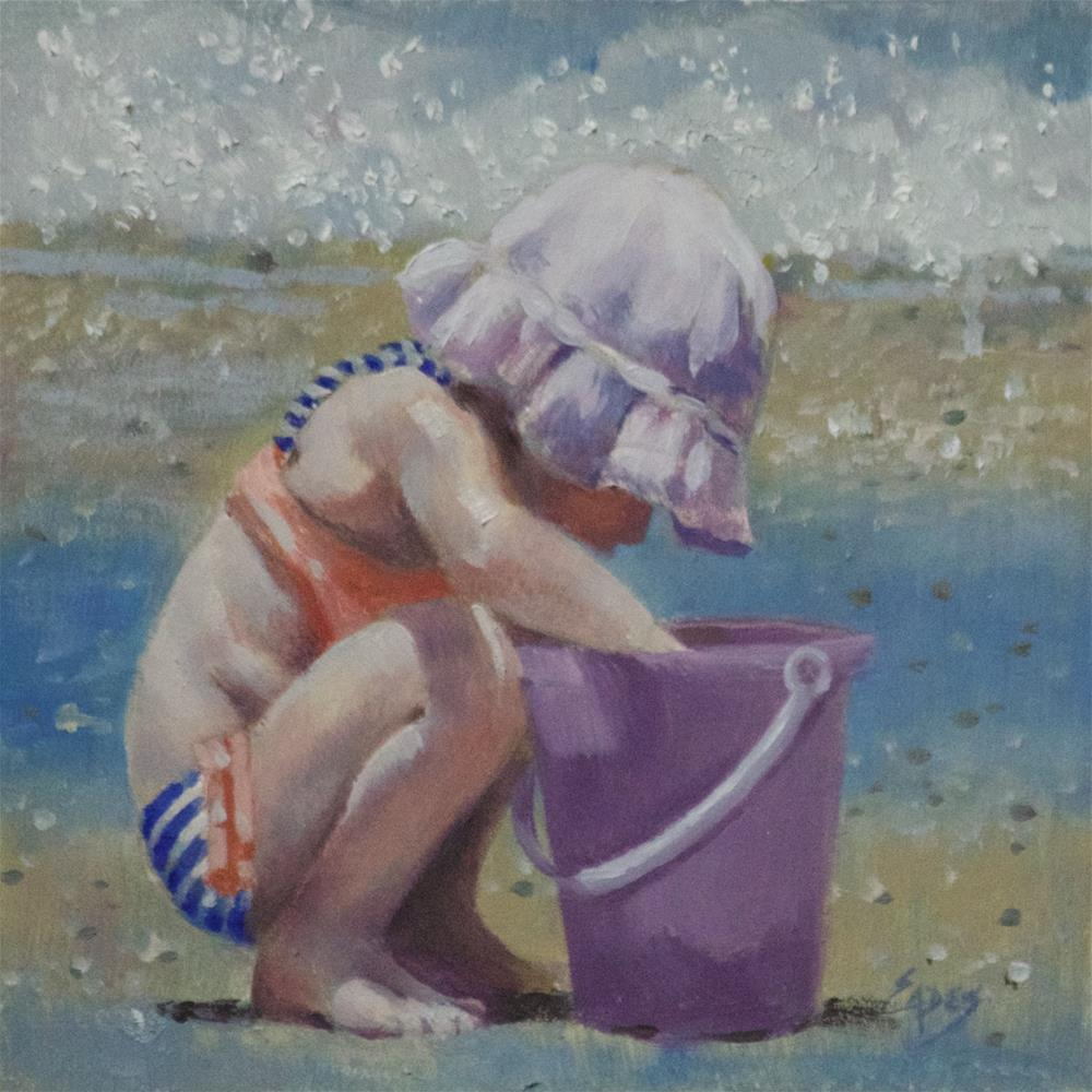 """Beach Treasure in my Bucket"" original fine art by Linda Eades Blackburn"