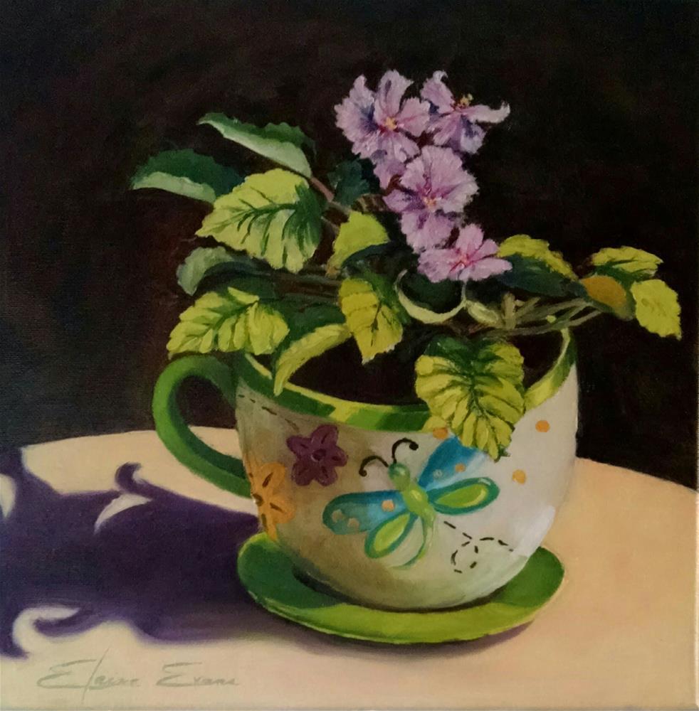 """""""African Violets"""" original fine art by Elaine Evans"""
