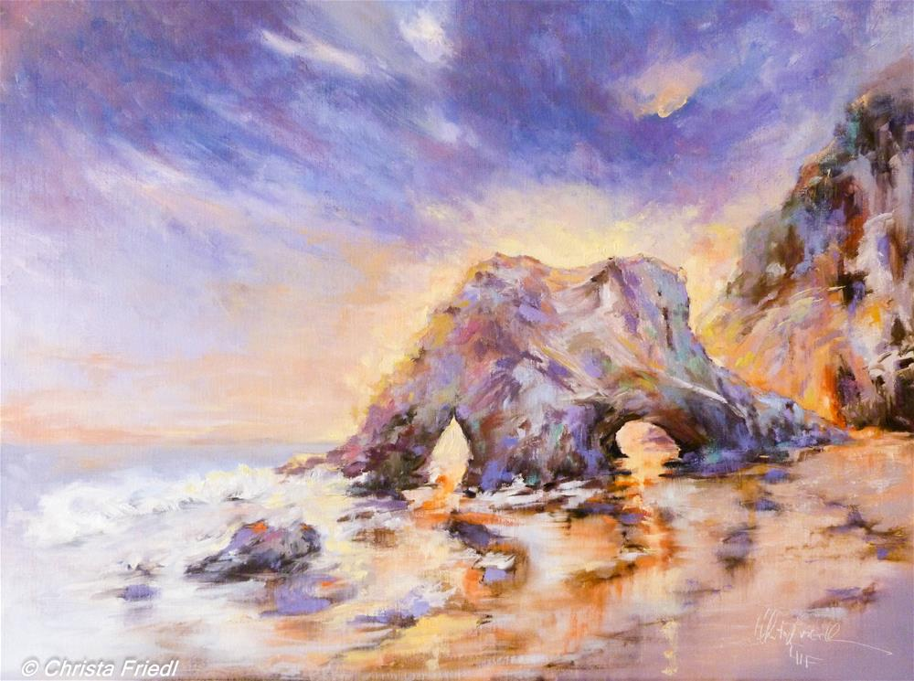 """Sunset El Matador Beach"" original fine art by Christa Friedl"