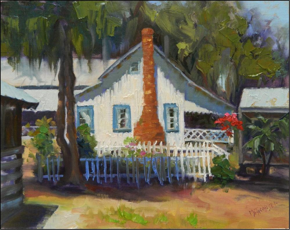 """""""A Glimpse of the Past"""", plein air, 14x11, oil on linen, old buildings, Old Florida art, paint-outs, original fine art by Maryanne Jacobsen"""