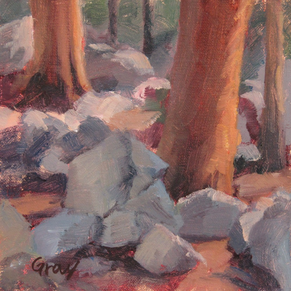 """Rocks in the Woods"" original fine art by Naomi Gray"