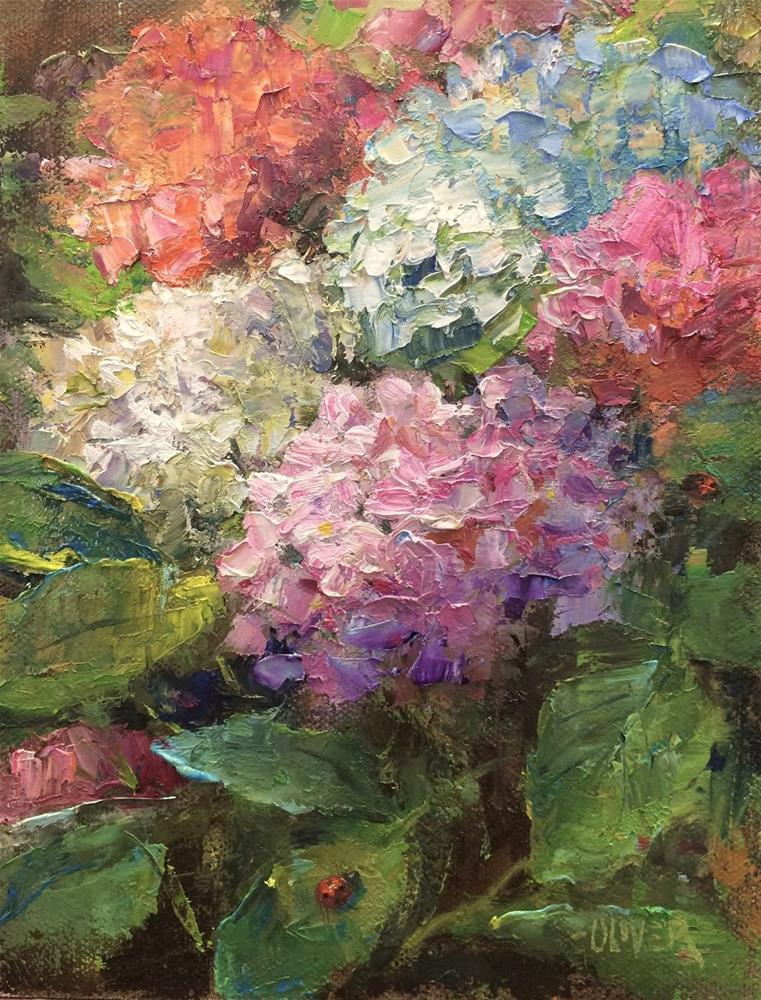"""""""Ladybugs."""" original fine art by Julie Ford Oliver"""