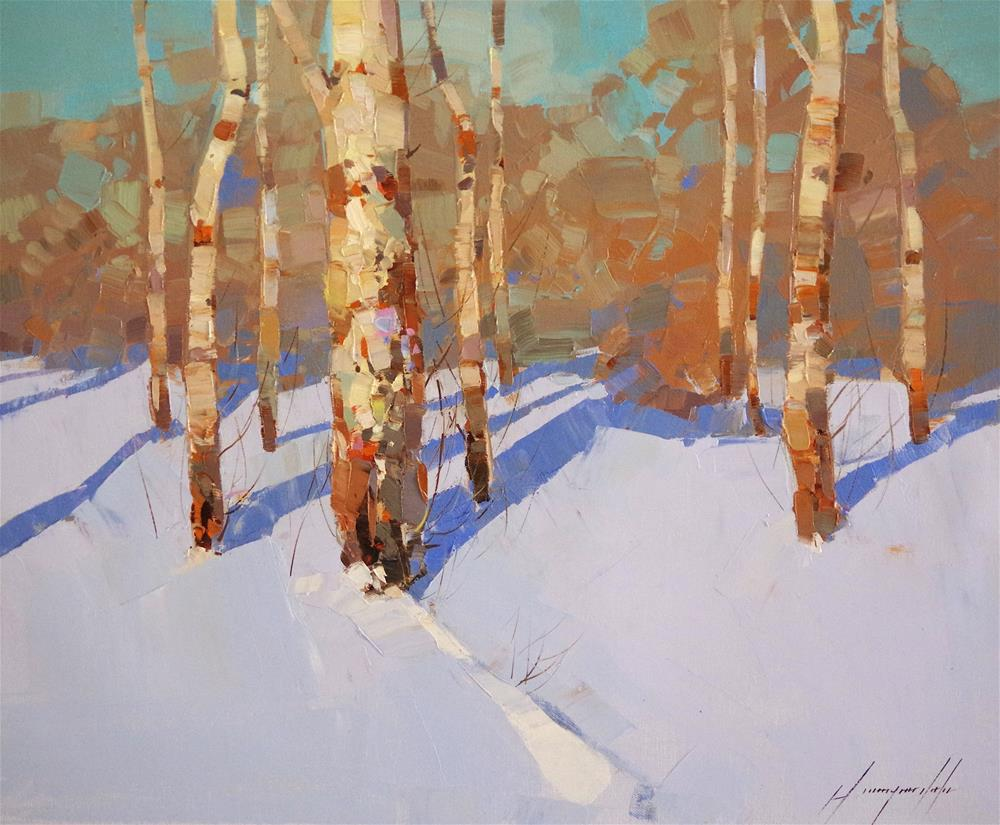 """Winter Time, Original oil painting, handmade art, impressionism"" original fine art by V Yeremyan"