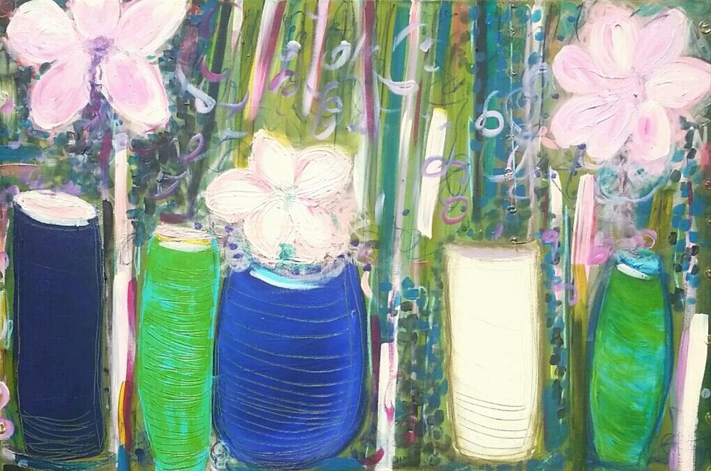 """""""Verde with Pinks"""" original fine art by Christy Tremblay"""