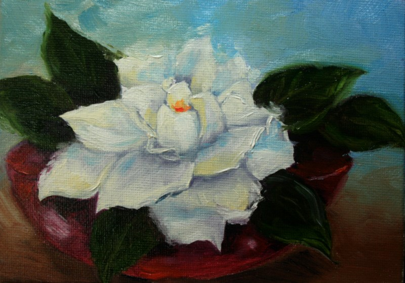 """Gardenia in Red Bowl"" original fine art by Jean Nelson"
