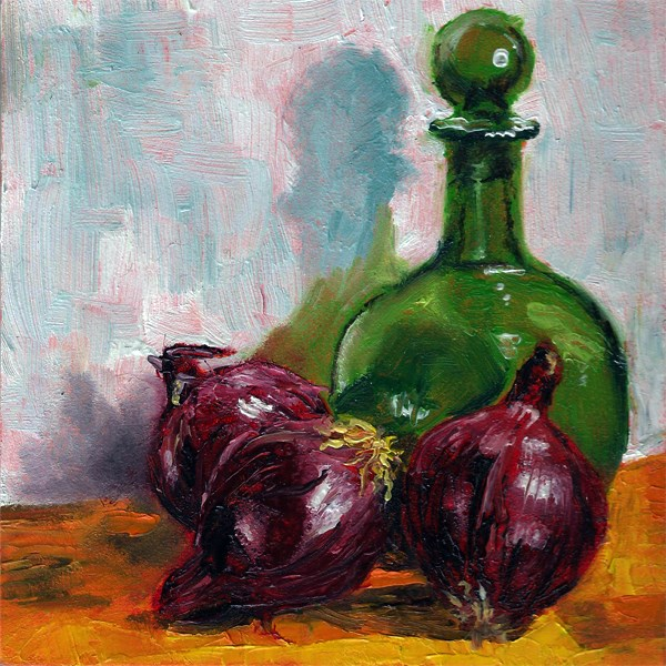 """Green bottle with onions"" original fine art by Peter J Sandford"