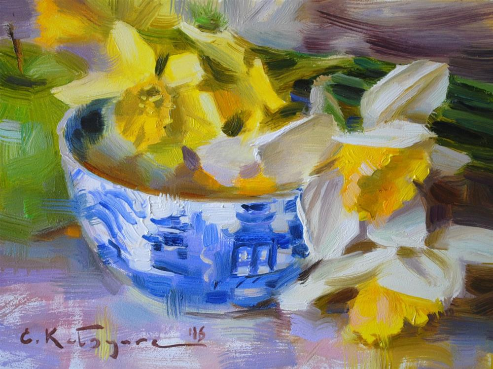 """Late April Daffodils"" original fine art by Elena Katsyura"