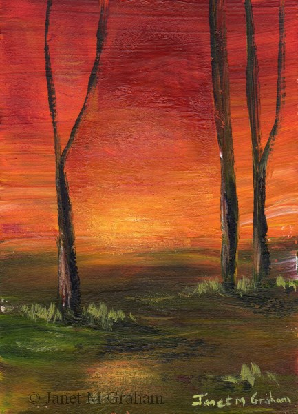 """Sunset ACEO"" original fine art by Janet Graham"
