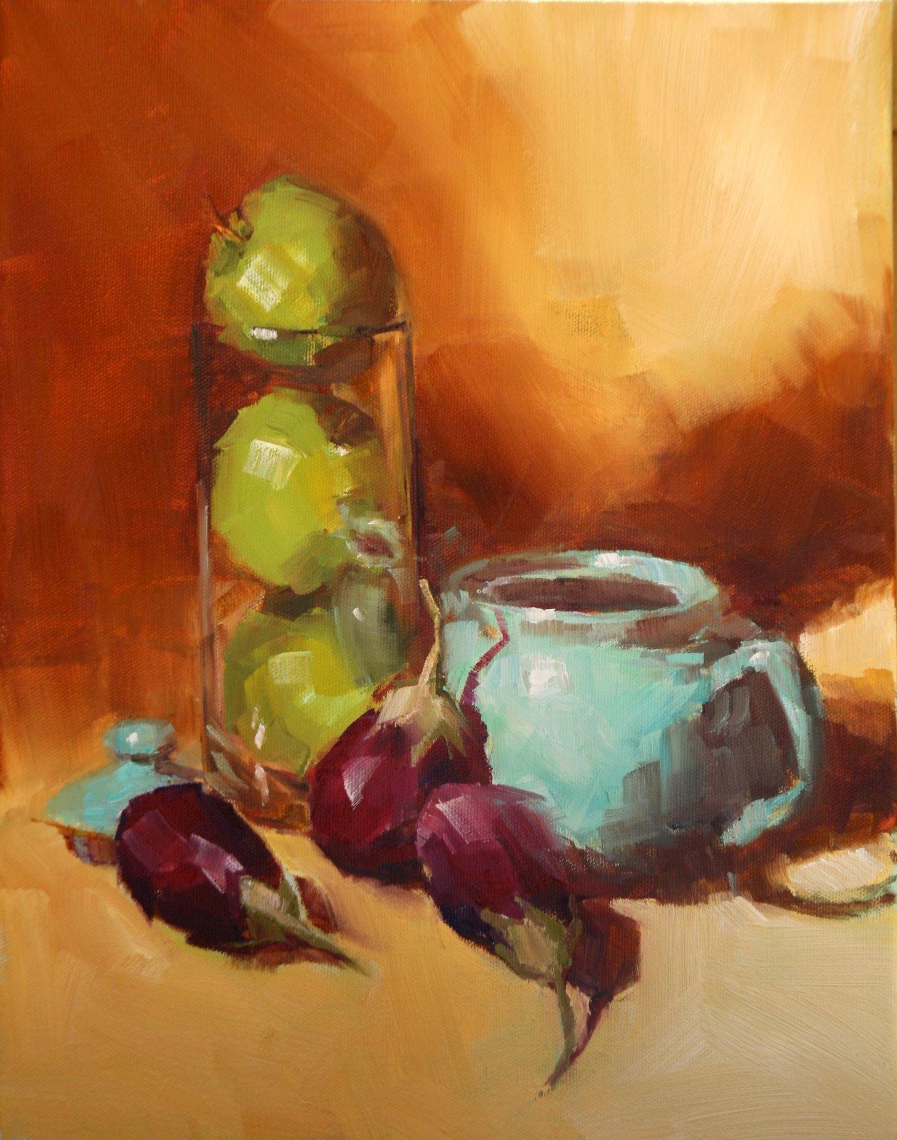 """apple tower"" original fine art by Carol Carmichael"