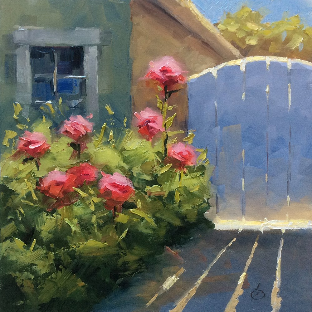 """GARDEN GATE WITH GLOWING ROSES"" original fine art by Tom Brown"