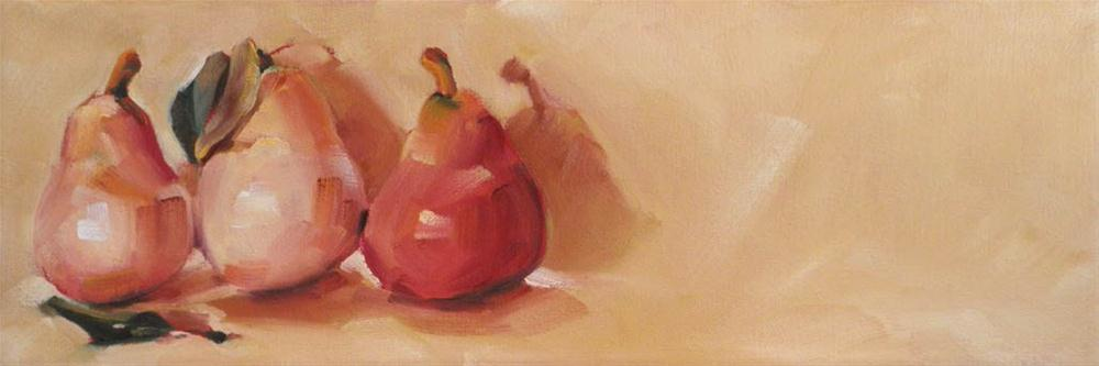 """Pink Pears with Leaves"" original fine art by Cheryl Wilson"