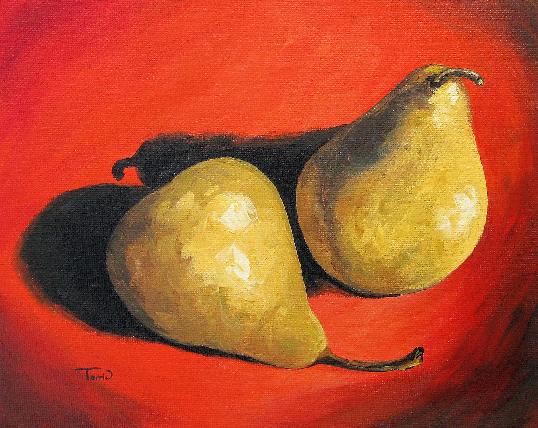 """Fancy Pears on Red"" original fine art by Torrie Smiley"