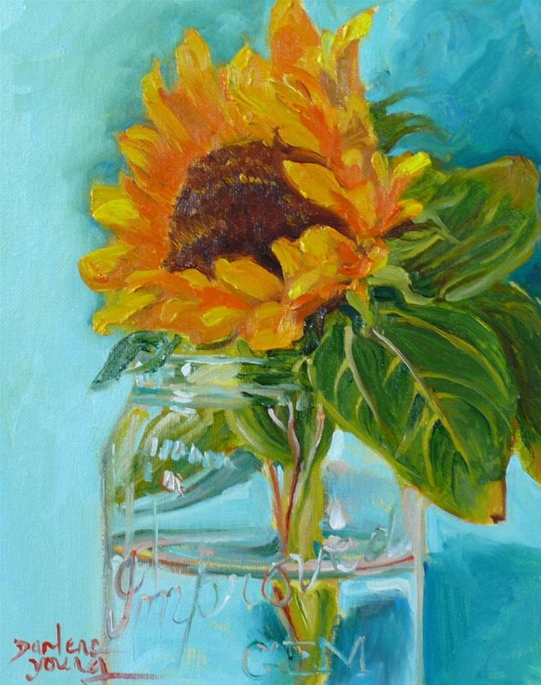 """677 Sunflower in a jar"" original fine art by Darlene Young"