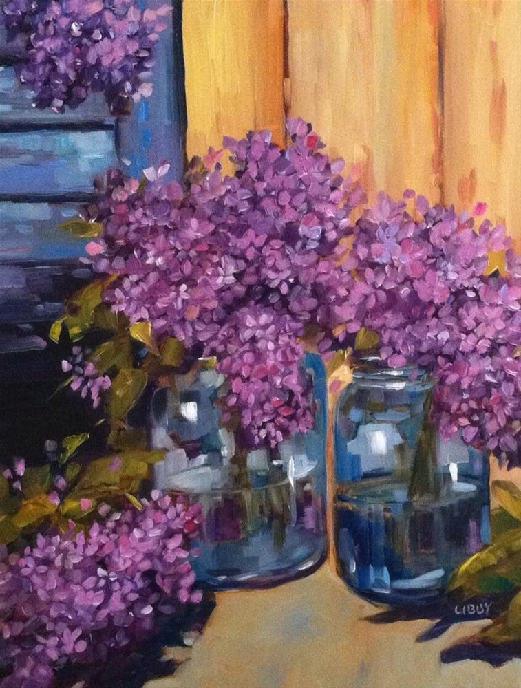 """""""Lilacs and Blue Shutter"""" original fine art by Libby Anderson"""